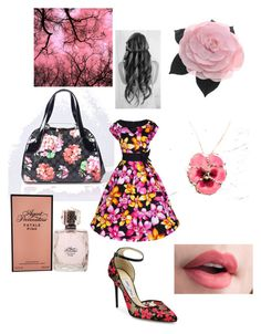 """""""Pretty In Pink"""" by sunnybunny101-167 ❤ liked on Polyvore featuring Agent Provocateur, Primp, Jimmy Choo, Chanel, NOVICA and plus size dresses"""