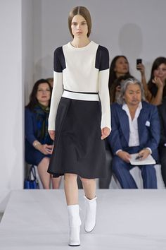 Super chic with elements of space age and ladylike skirts at Jil Sander Spring 2013