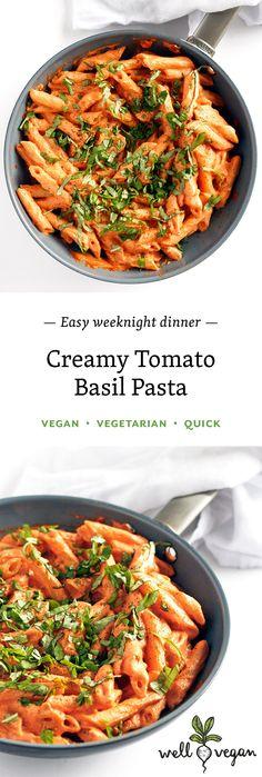 Creamy Tomato Basil Pasta // vegan, vegetarian, dairy-free, easy recipe