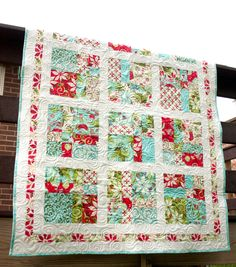 pictures of quilts | ... quilt // 12 days of christmas // bright hopscotch couch throw quilt