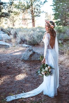 Kevin and Keely's magical, rustic wedding in the mountains of California, featuring our beloved Inca gown.
