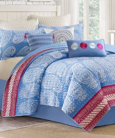 Blue & Fuchsia Woodblock Paisley Coverlet | zulily