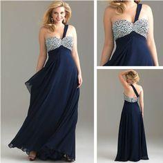 PPM012 Navy Blue Chiffon Bridesmaid Dress Plus Size