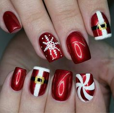 Christmas Nails – Festive Christmas Nail Designs for An outstanding Christmas nail art can h… Cute Christmas Nails, Xmas Nails, Christmas Nail Art Designs, Holiday Nails, Christmas Manicure, Valentine Nails, Halloween Nails, Gorgeous Nails, Pretty Nails