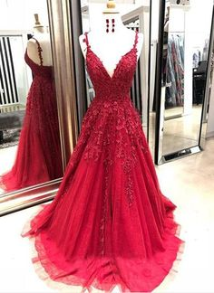 Burgundy tulle v neck long spring prom dress with lace appliqué from Sweetheart Dress - Vestidos , Dance Dresses, Sexy Dresses, Dress Outfits, Long Dresses, Summer Dresses, Dress Long, Ball Dresses, Casual Dresses, Elegant Prom Dresses