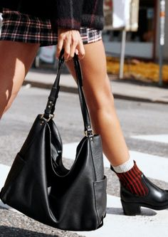 & Other Stories | Inspiration | Elastic Rib Shaft Boots | Double Strap Leather Hobo Bag