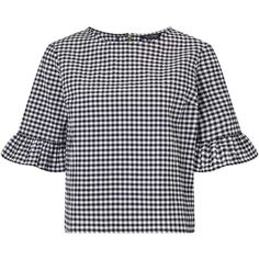 Miss Selfridge Gingham Frill Sleeve Blouse (1.535 UYU) ❤ liked on Polyvore featuring tops, blouses, shirts, white, ruffle sleeve blouse, gingham top, gingham blouse, flutter sleeve blouse and white top