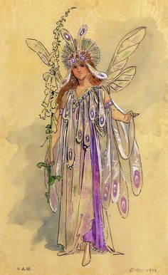 "Titania, Queen of the Fairies. Costume design for ""A Midsummer Night's Dream"" produced by Robert Courtneidge at the Princes Theatre, Manchester Wall Art & Canvas Prints by C. Vintage Fairies, Vintage Art, Dream Drawing, Fairy Queen, Midsummer Nights Dream, Midsummer Night's Dream Fairies, Fantasy Costumes, Fairy Art, Illustrations"