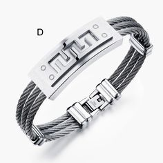 Jiayiqi Fashion Men Bracelet Cross Stainless Steel 3 Rows Wire Chain Cuff Bangles for Men Jewelry Punk Silver Gold Color Gifts