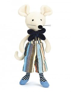 Jellycat Mr Monty Mouse with Organza Pull String Bag Soft Toys Making, Blue Bow Tie, Jellycat, Treasure Boxes, Smurfs, Minnie Mouse, Plush, Bunny, Snoopy