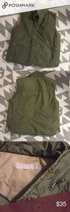 "J.Crew green zippered vest Lightweight but warm, perfect for Spring! Hood is missing, but otherwise in excellent condition. Tags also missing, fits size Small. 16"" across shoulders. J. Crew Jackets & Coats Vests"