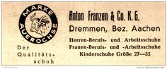 Original-Werbung/ Anzeige 1948 - SCHUHE MARKE AUEROCHSE / ANTON FRANZEN - DREMMEN BEI AACHEN  - ca. 80 x 30 mm