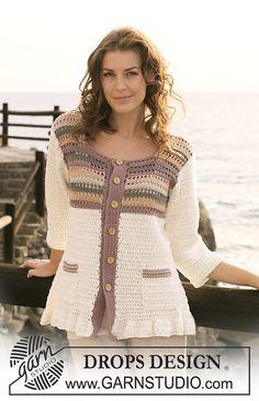 Crochet jacket with stripes in Muskat -lady ༺✿ƬⱤღ http://www.pinterest.com/teretegui/✿༻