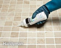 Apply colorant and scrub to cover and whiten the grimy grout. How to Whiten Grimy Grout: http://www.familyhandyman.com/tiling/grouting/how-to-whiten-grimy-grout/view-all