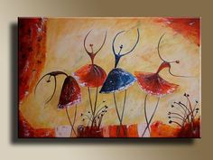 Abstract Dance Paintings Ballet <b>dancers</b> figures original acrylic <b>painting</b> on canvas <b></b>