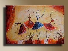 Abstract Dance Paintings Ballet <b>dancers</b> figures original acrylic <b>painting</b> on canvas <b></b>