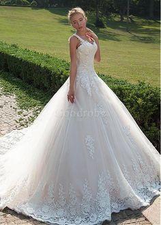 Robe de mariée appliques dentelle avec manches chute de col en v - photo 3