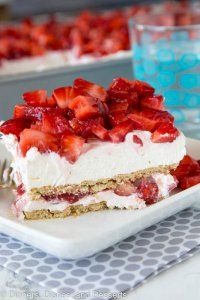 Strawberry Cheesecake Lasagna - You love lasagna as a main dish, so why not serve it for dessert too? Layers of fresh strawberries, sweet cream, and graham crackers are stacked high in this no-bake sweet treat.