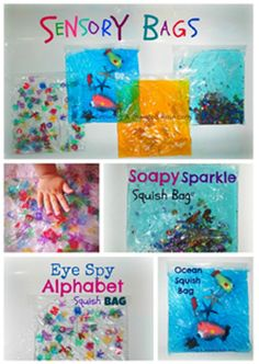 Have fun with the kids today making SENSORY BAGS. All you need is coloured body wash, clear hair gel or dish washing liquid & zip-lock bags. Then just add glitter, small sea creatures, letters or other small items you have at home or from the $2 shop. Via KiwiOz Nannies: https://secure.zeald.com/under5s/results.html?q=kiwioz+nannies