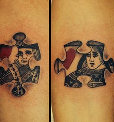 Me and my hubby's couple tatto 3D puzzle piece King & Queen of Hearts awesome design done by Alex Miller in west Chester pa
