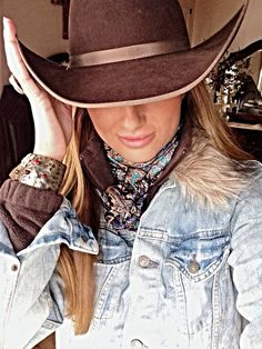 Cowgirl brown felt jean coat with fur