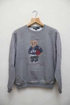 Vintage POLO RALPH Lauren Polo Bear Basketball Pullover Sweater Sweatshirt  Gray Color Size L