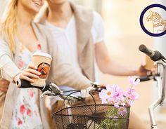 couple holding coffee and riding bicycle misc Logo Images, Daniel Wellington, Girlfriends, Boyfriend, Handsome, Bicycle, Couples, Beautiful, Family Flowers