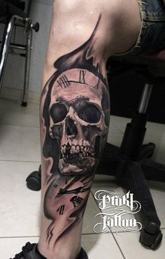 Skull with watch tattoo on leg for men - 100 Awesome Skull Tattoo Designs