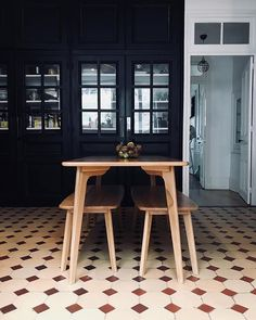 Fjords the name dining's the game. @stephaniezwicky brings her kitchen A-game with matte black cabinets and this Scandi oak set serving 21st century class. Link in bio to shop Fjord.