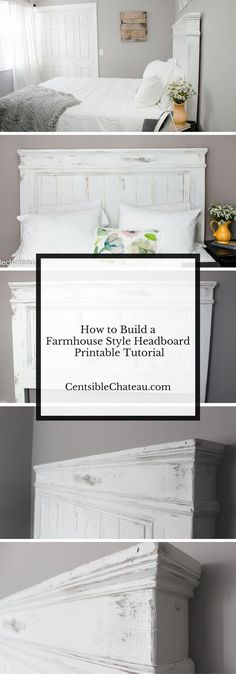 This headboard is the perfect anchor for a gorgeous farmhouse style bedroom. If you love Fixer Upper, Shabby Chic Style, Vintage or Farmhouse Decor this headboard is perfect. It can be built for around $100 with our easy printable instructions.