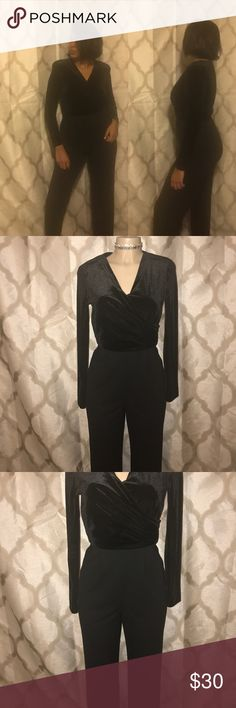Vintage black jumpsuit Shoulder pads are back for this winter/fall don't miss out the fraternity to wear something vintage and unique piece excellent condition velvet top jumpsuit from Jones New York size 4 but can also feed up to size 10 Jones New York Pants Jumpsuits & Rompers