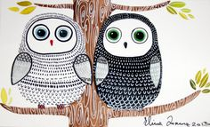 Black owl-White owl-Friends-Original watercolor painting-nursery decor-tree-illustration-wall art-modern-art for children on Etsy, $34.99