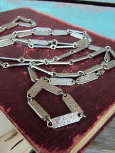Vintage Long Chain Necklace 1960s Bar by primitivepincushion