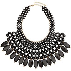 H&M Short necklace (88.355 COP) ❤ liked on Polyvore featuring jewelry, necklaces, accessories, acessorios, black, black pendant, h&m necklace, plastic bead necklace, plastic jewelry and black necklace