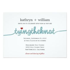 Tying The Knot Modern Wedding Invitation Card