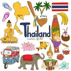Illustrazione del vettoriali, clipart e vettori stock Fun colorful sketch collection of Thailand icons, countries alphabet Image Cultures Du Monde, World Cultures, Countries Of The World, Geography For Kids, World Geography, Colegio Ideas, India Culture, Cultural Diversity, Art Plastique
