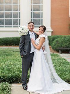 Peonies, elegant wedding dress, grey tux.