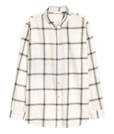 Check this out! Straight-cut shirt in soft cotton flannel with a turn-down collar, long sleeves with buttons at cuffs, and a rounded hem with slits at sides. Slightly longer at back. - Visit hm.com to see more.