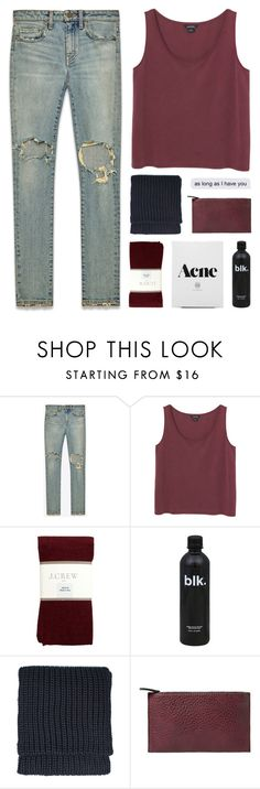 """""""s l e e p - i s - o v e r r a t e d"""" by thenewgirl3 ❤ liked on Polyvore featuring Yves Saint Laurent, Monki, J.Crew, Topshop, Violeta by Mango, white, black, jeans, maroon and goals"""