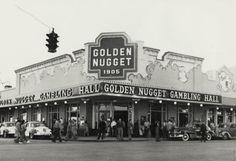 Golden Nugget. Street scenes of Las Vegas, Nevada 1940s.
