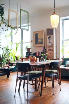 My Style: Bohemian Artist Loft styled in a mid-century modern-meets-vintage salon vibe. Art collection, sacred objects, plants, rocks, shells and high vibes.