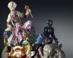 A pair of Kändler period figurines probably by Johann Joachim Kändler and Peter Reinicke, The porcelain: Meissen, date circa 1743-50. The gilt bronze mounts: Paris, date circa 1775. DETAIL