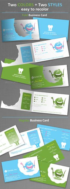 Dental Business Cards  #GraphicRiver         Dental Business Card Template  	 Color Mode: CMYK   	 SIZE : 3.75×2.25 inch (with bleed)   3.5X2 inch (standard)  	 The files included are:  EPS , AI  Two Text fonts can be obtained free from:  .fontsquirrel /fonts/CartoGothic-Std  .fontsquirrel /fonts/Tangerine     Created: 17April11 GraphicsFilesIncluded: VectorEPS Layered: No MinimumAdobeCSVersion: CS PrintDimensions: 3.5x2 Tags: anatomy #blue #brushing #cartoon #clinic #dental #dentalclinic…