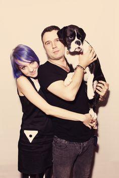 Family portrait of Sherri Dupree Bemis, Max Bemis, and their doggy. :)