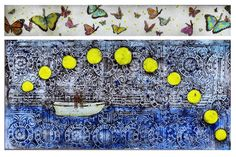 """Sean Hennessey The Gift of Time  Glass, Paint, Photo Transfer, Found Objects, LED 36""""x24"""""""