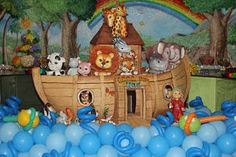 festa arca de noe - Pesquisa Google Noahs Ark Party, Noahs Ark Theme, Children Of Eden, Bible Crafts, Baby Love, Balloons, Crafts For Kids, Baby Shower, Christmas Ornaments
