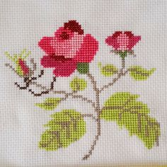 VItg Finished Cross Stitch Fresh Cut Roses Stem with Leaves & Bud Floral