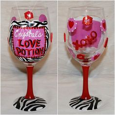 70 Best Valentine S Day Images On Pinterest Decorated Wine Glasses