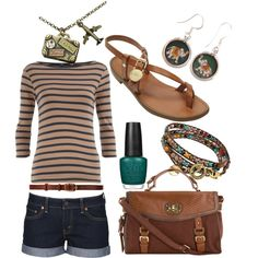 """Another polyvore of mine. I call this one """"Wanderlust 1.0""""  I was thinking about a vacation to Colombia when I made this one."""