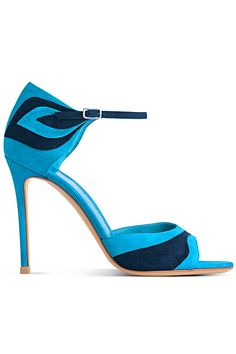 Gianvito Rossi- Stylized Two-Tone Sandals  Dark and light blue suede sandal with ankle strap and layered leaf shape on heel. Category: Shoes , Pumps Color: Blues , Reds Price: $750